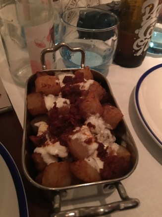 Patatas bravas with queso cabra and honey:)